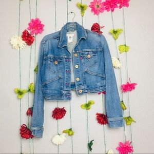 Levi's jean button down bomber jacket size M.